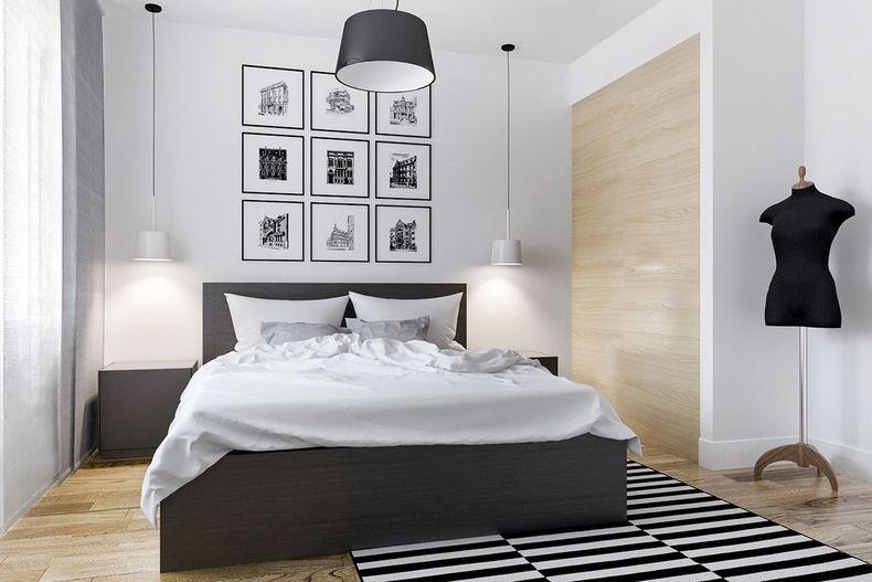Прекрасная черно-белая спальня